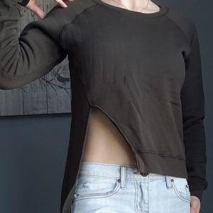 OAK brand asymmetrical sweatshirt in olive (size S